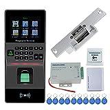 HFeng RFID IP/TCP Fingerabdruck Zutrittskontrolle Tastatur Biometrische Türschloss System Kit Zeiterfassung + Fail Secure Strike Schloss + Netzteil Unterstützung USB / RS485