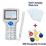 RFID NFC Kartenleser Writer Kopierer 10 Frequenz Programmierer für IC ID Karten und Alle 125 kHz Karten Paket mit 5 Stück T5577 Beschreibbare Dicke Karten + 5 Stück UID Veränderbare 1k Tags