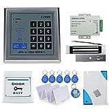 OBO HANDS Full Rfid Türschloss Access Control Keypad Kit + Elektrische Magnetverschluss + Netzteil + Exit Button +5 Karten + 5 Key Fobs + Epoxy Tag