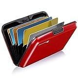 GreatShield RFID NFC Blocker Cardguard[Aluminium] Kreditkarten/Visitenkarten/Ausweis EC/Bank-Karte[Halter|Hülle|Etui|Brieftasche|Kartenbörse|Wallet|Card Holder|Case][8 Karten] Damen/Herren -Rot