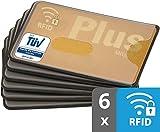 valonic RFID Blocker | Kunststoff | TÜV geprüft | transparent | 6 Stück NFC Schutzhülle | Kreditkartenhülle abgeschirmt