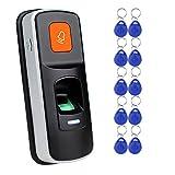 uoweky RFID Eigenständige Fingerabdruck-Zugangskontrolle Leser Biometrische Türöffner Unterstützung SD-Karte + 10pcs RFID 125 kHz Blauer Schlüsselanhänger