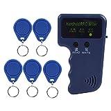 RFID Karten Kopierer Tragbarer RFID Ausweis Kopierer mit 5 Tags, Integrierter Transceiver Antenne, Einzelnen LED Leuchten und Summer Anzeige, Unterstützung von 125 kHz EM4100 / EM410X