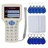 OBO HANDS Englisch RFID NFC Kopierer Leser Schriftsteller Duplizierer 10 Frequenz Programmierer mit Farbbildschirm + 5 Stücke T5577 Karte + 5 Stücke T5577 Keyfob + 5 Stücke UID Keyfob