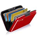 GreatShield RFID Blocking Karten Halter (Aluminium/Identität Protection) Visitenkarten Tasche/Karten Mappe/Börse/Card Holder/Beutel (8 Karten/Slots) für Frau/Mann - Rot