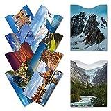 TÜV geprüfte RFID & NFC Kreditkarten- und Reisepass Schutzhüllen (10 Stück) | Travel-Basics | super dünn & robust für 100% Datenschutz (Mountains)