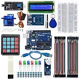 WayinTop RFID-Türzugangskontrollsystem-Kit für Arduino, RFID Kit RC522 mit Reader, Chip und Card + R3 Mikrocontroller Board + Servo + Folientastatur + LCD Anzeige + Summer + Breadboard Jumper Wire
